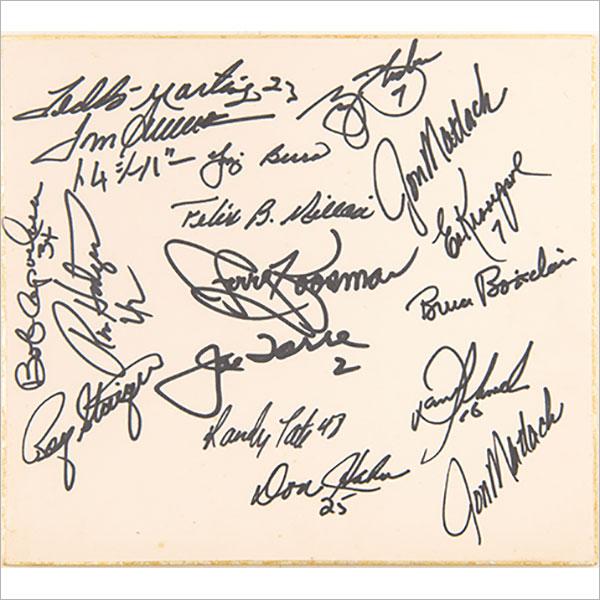 1974年来日時ニューヨークメッツ監督・選手寄書サイン色紙